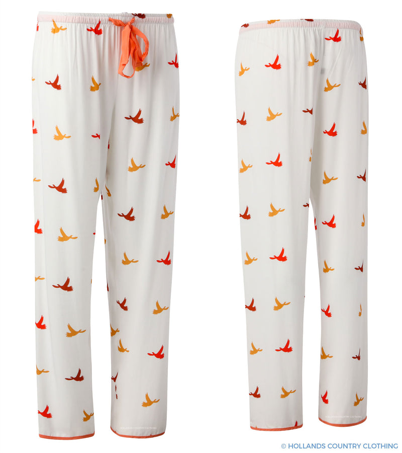 Luxury Colourful Bird print pyjamas in cream