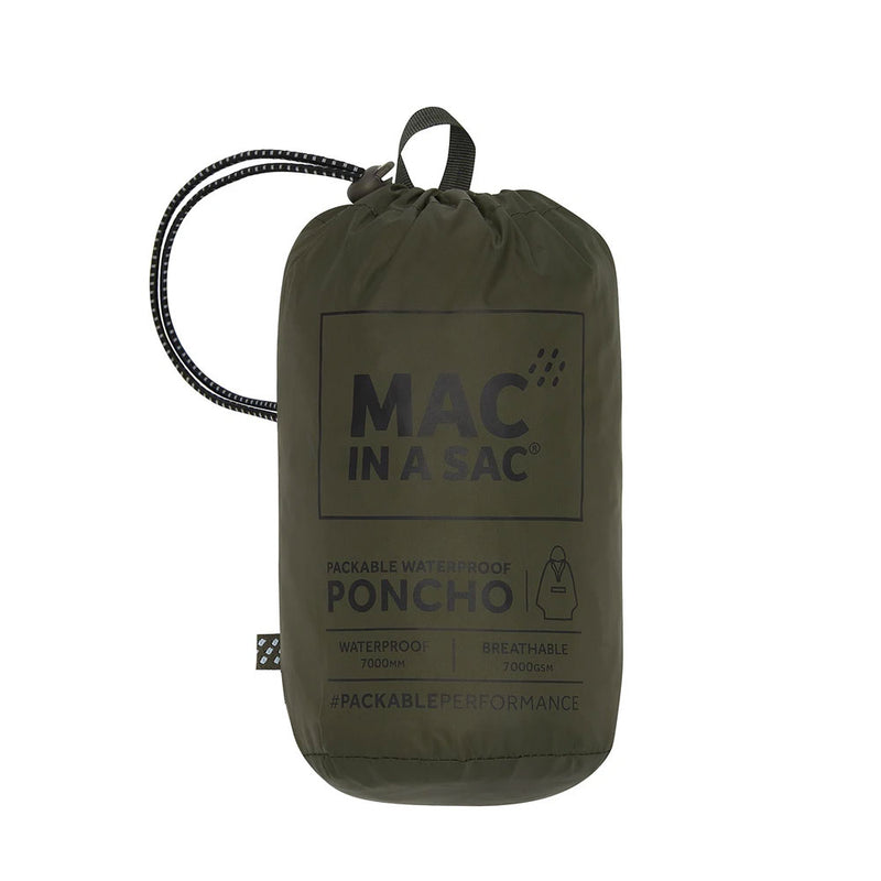 Pack in sac for waterproof poncho in olive