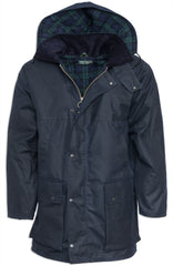 blue navy Padded Wax Cotton Jacket by Hoggs of Fife