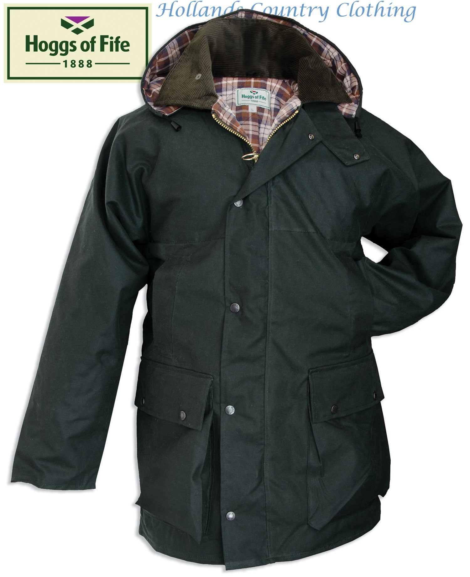 The Hoggs of Fife Padded Waxed Jacket in olive green