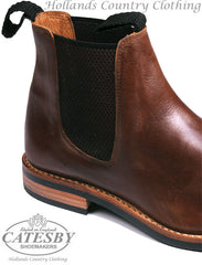 Catesby Brown Seamless Leather Upper Elastic Gusset Boots
