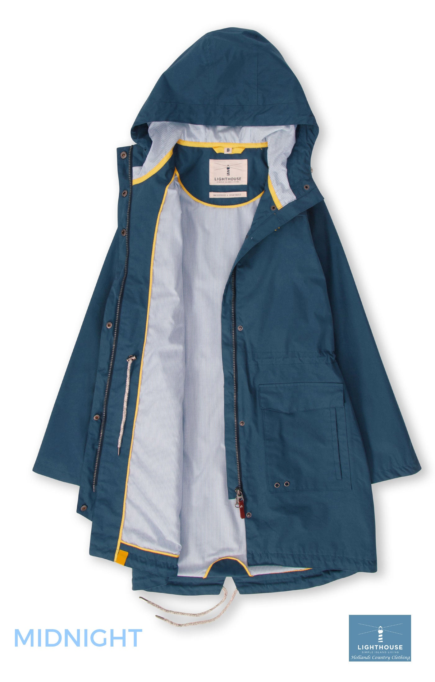 cotton lining Paige Ladies Mid Length Waterproof by Lighthouse