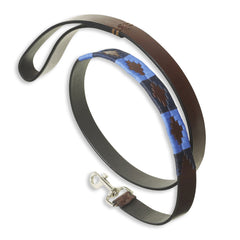 Large Pampeano Azules Leather Dog Lead | Sky blue, Navy, Rich Brown Leather