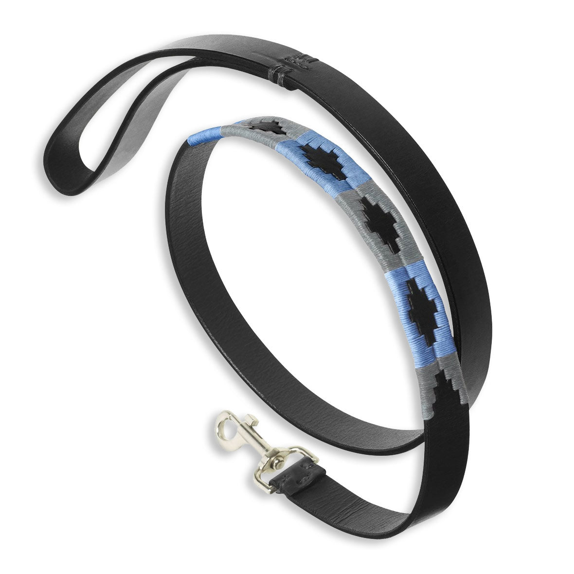 Pampeano Ebano Black Leather Dog Lead | Blue Grey Black