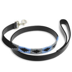 Black Blue Grey Pampeano Ebano Black Leather Dog Lead