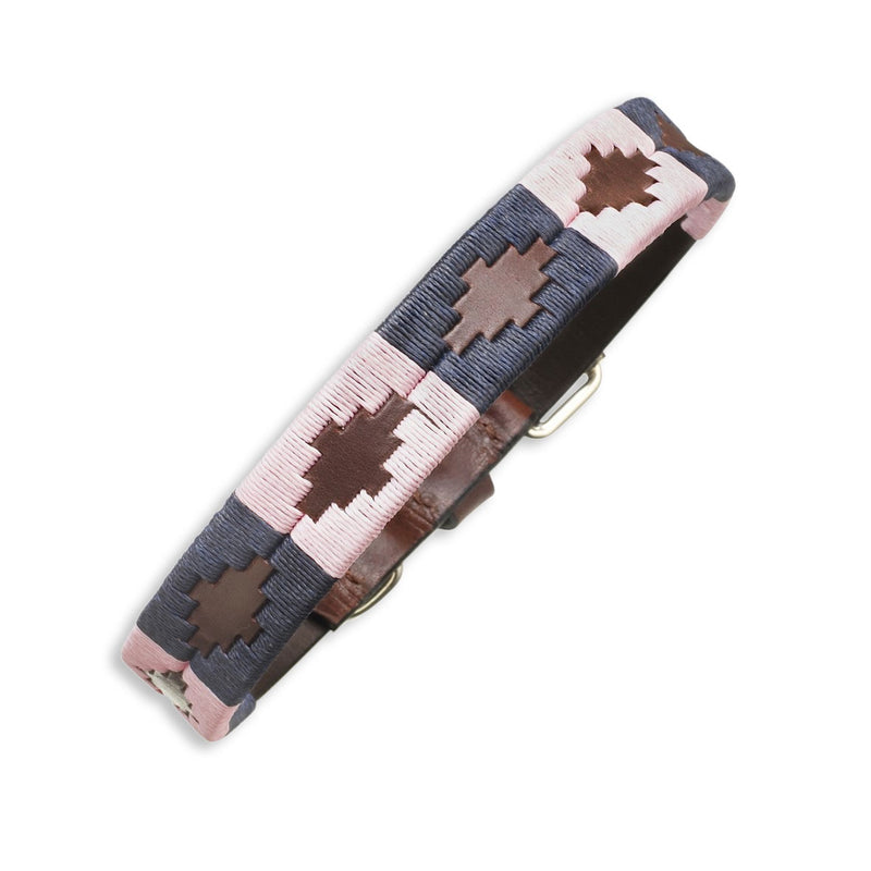 Pink Blue Brown Pampeano Hermoso Leather Dog Collar