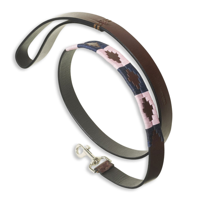 Pink and Blue Pampeano Hermoso Leather Dog Lead