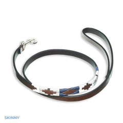 Skinny Blue White Pampeano Roca Leather Dog Lead | Two Sizes
