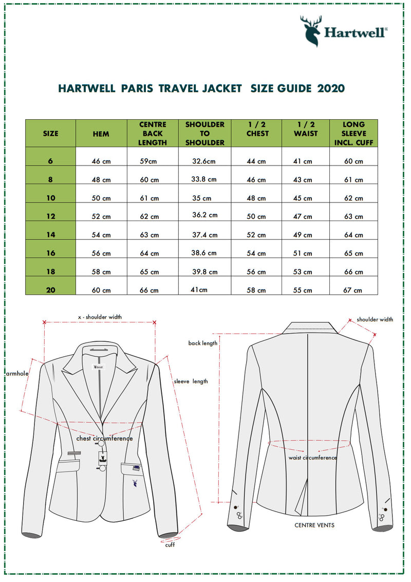 Sizing Chart Paris Travel Jacket