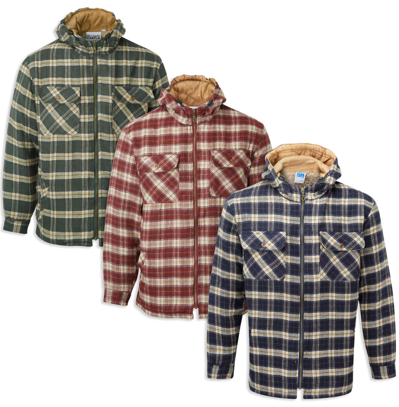 Penarth Fleece Lined Shirt / Jacket with Hood by Blue Castle in three colours