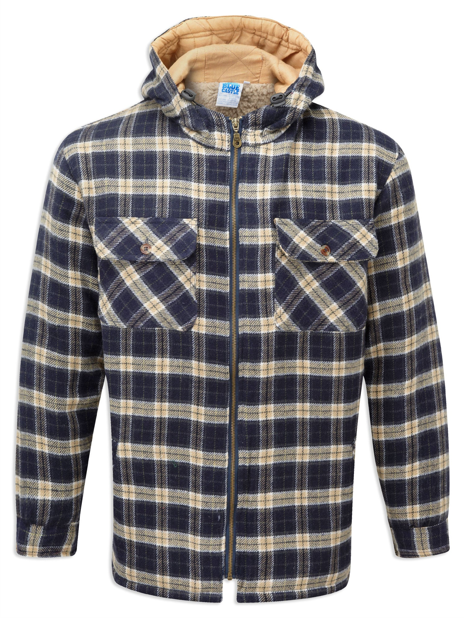 Winter weight Sherpa Fleece Lined Tartan Hoodie