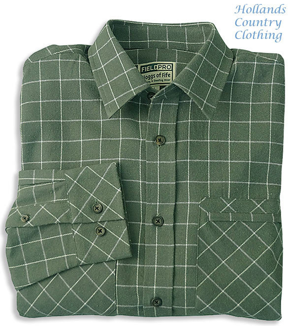 Pine All Cotton Luxury Hunting Shirt by Hoggs of Fife.
