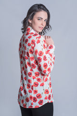 A beautifully flattering ladies blouse with an exquisite Poppy design