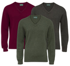 Alan Paine Burford Vee Neck Pullover in green or red