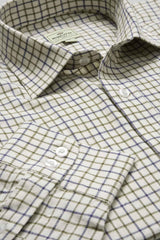Hoggs 100% Cotton Tattersall Shirt. Navy Olive Four Colours