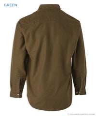 Back View superior quality Bronte Moleskin Country Shirt.Green