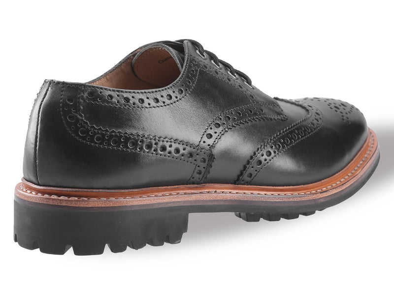 Black Wing tip brogue shoe with commando sole