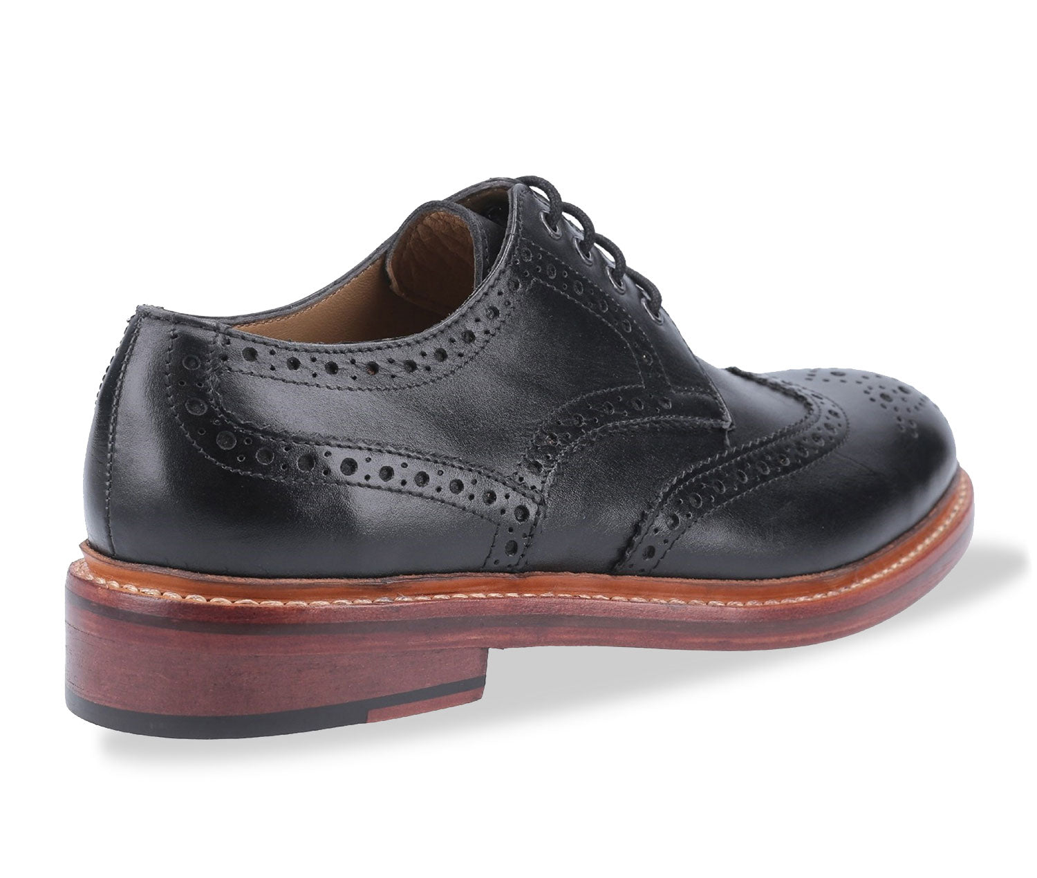 Black all leather brogue country shoe