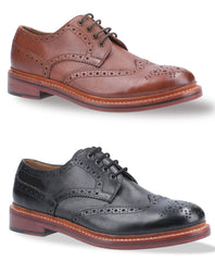 Cotswold Quenington All Leather Brogue Shoe | Black & Brown