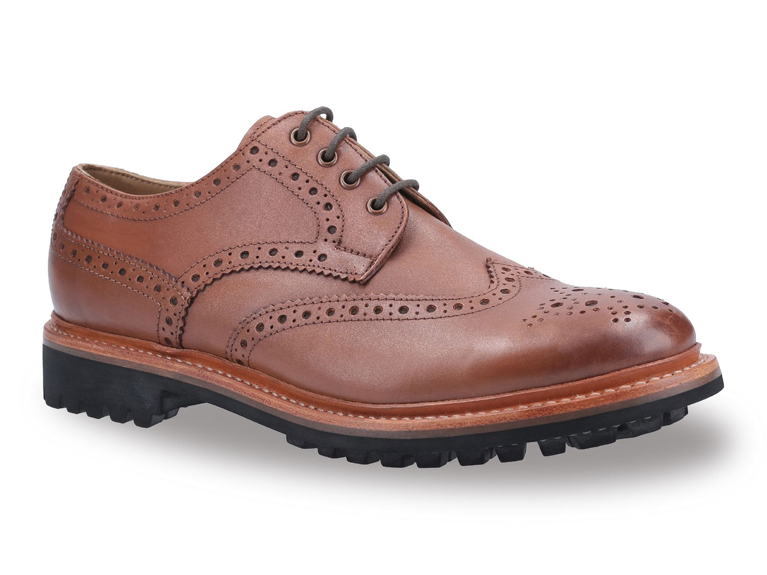 Brown Cotswold Quenington Commando Sole Brogue Shoe