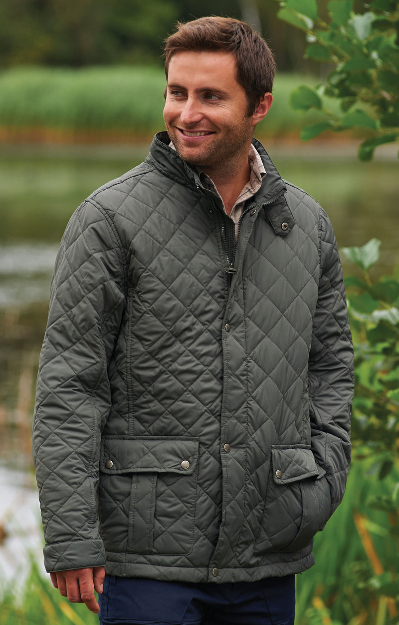 man wearing Champion Padstow Diamond Quilted Jacket
