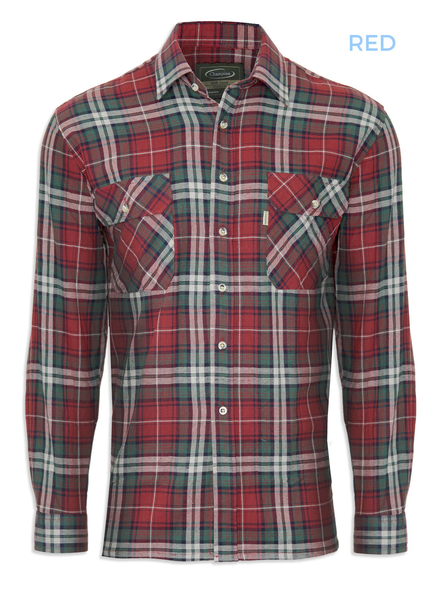 Red and brown tartan shirt chmpion kempton cotton