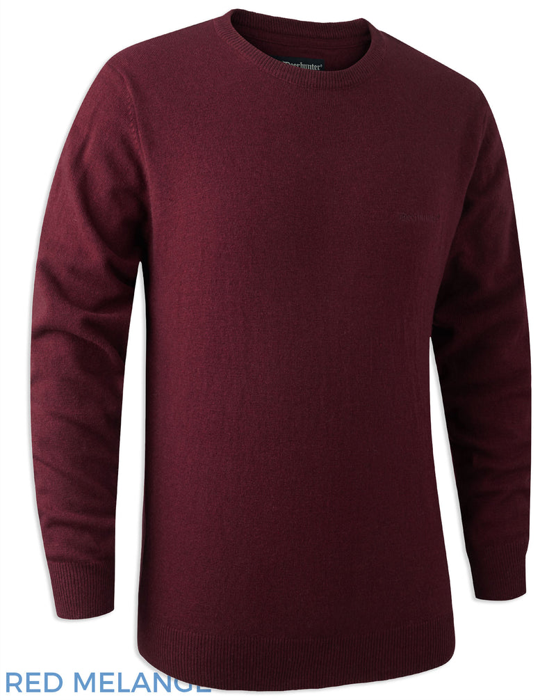 Red Melange Deerhunter Brighton Knitted Crew-neck Sweater