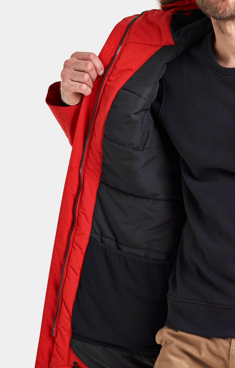 Red outer with black lining