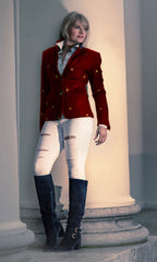 woman against an Ionic column in Sporting Hares Beauchamp Blazer | Huntsman Red