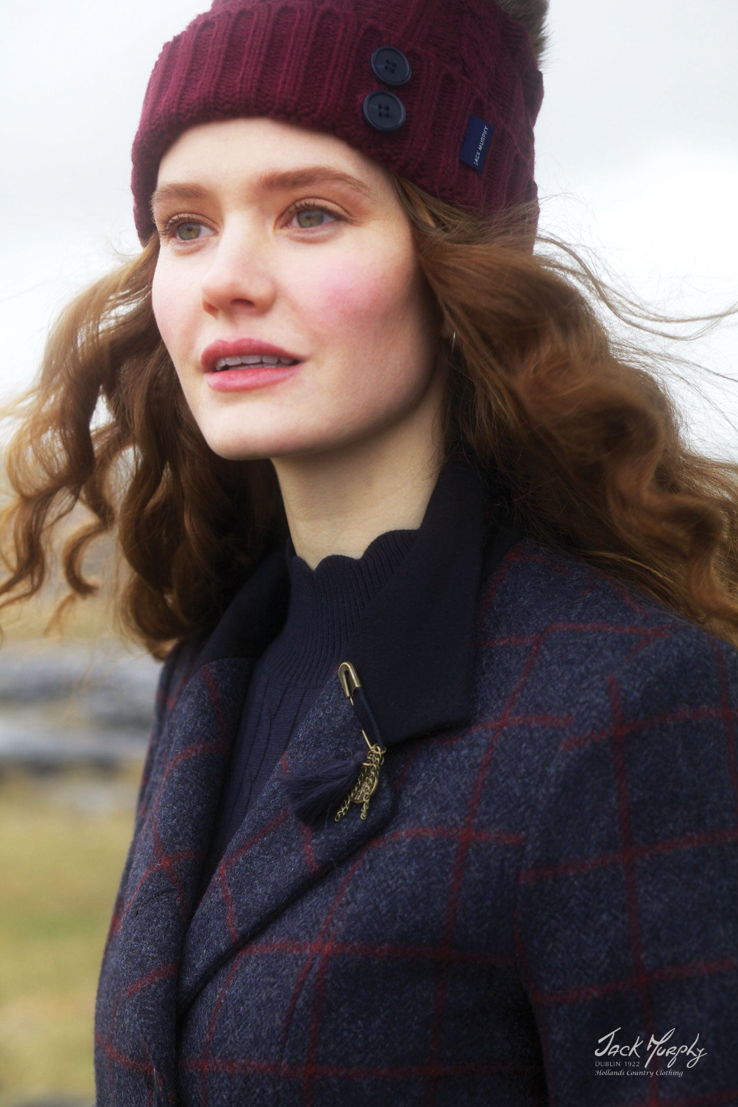 close up of moleskin detail on isabella tweed coat