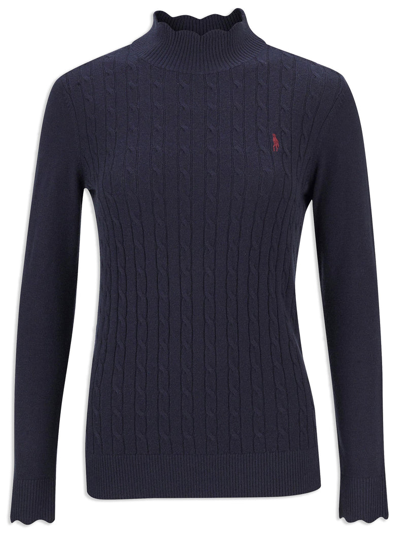 Jack Murphy Gillian Scalloped Polo Neck Jumper | Heritage Navy