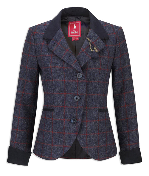 Jack Murphy Harriet Jacket | Navy wit red windowpane Check