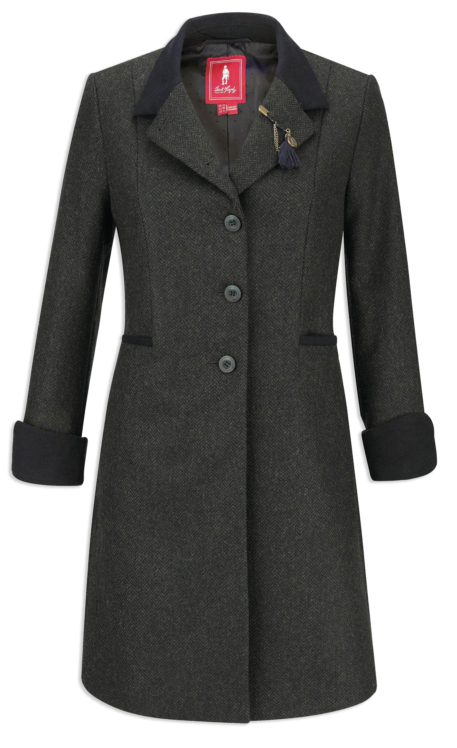 cuffs up Jack Murphy Isabella Tweed Coat | Green