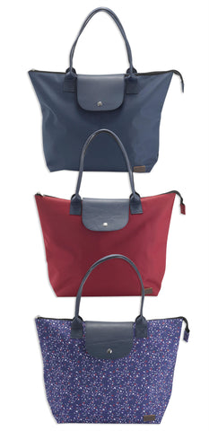 Jack Murphy Fold Up Carry All Bag in navy, Burgundy, and floral