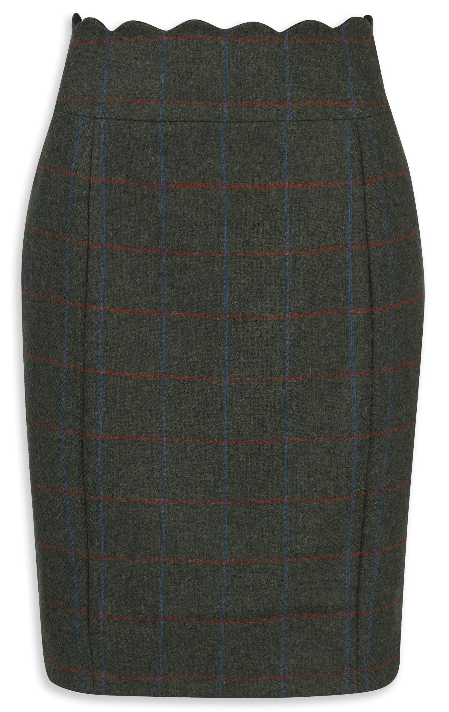 Jack Murphy Taylor Tweed Skirt Green Herringbone Check