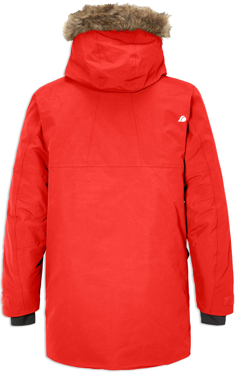 Red Back view Waterproof parka