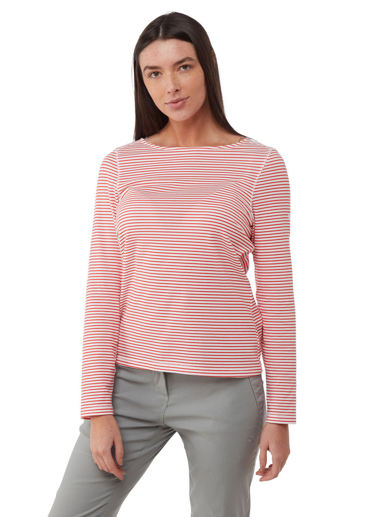 Rio Red Stripe Ladies NosiLife Erin Long Sleeve Top by Craghoppers