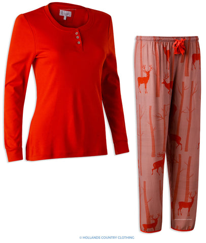 Hartwell Lucy Ladies Pyjama Set | Red Stags
