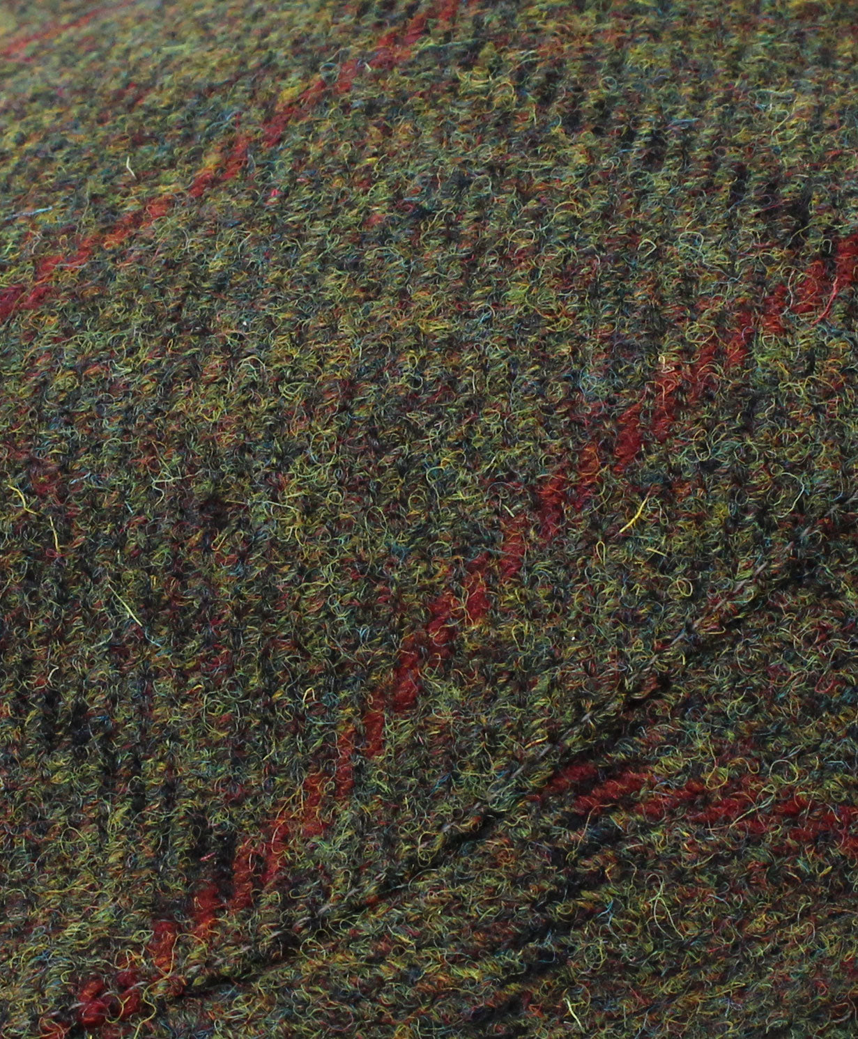 Green with Red Check pure wool tweed