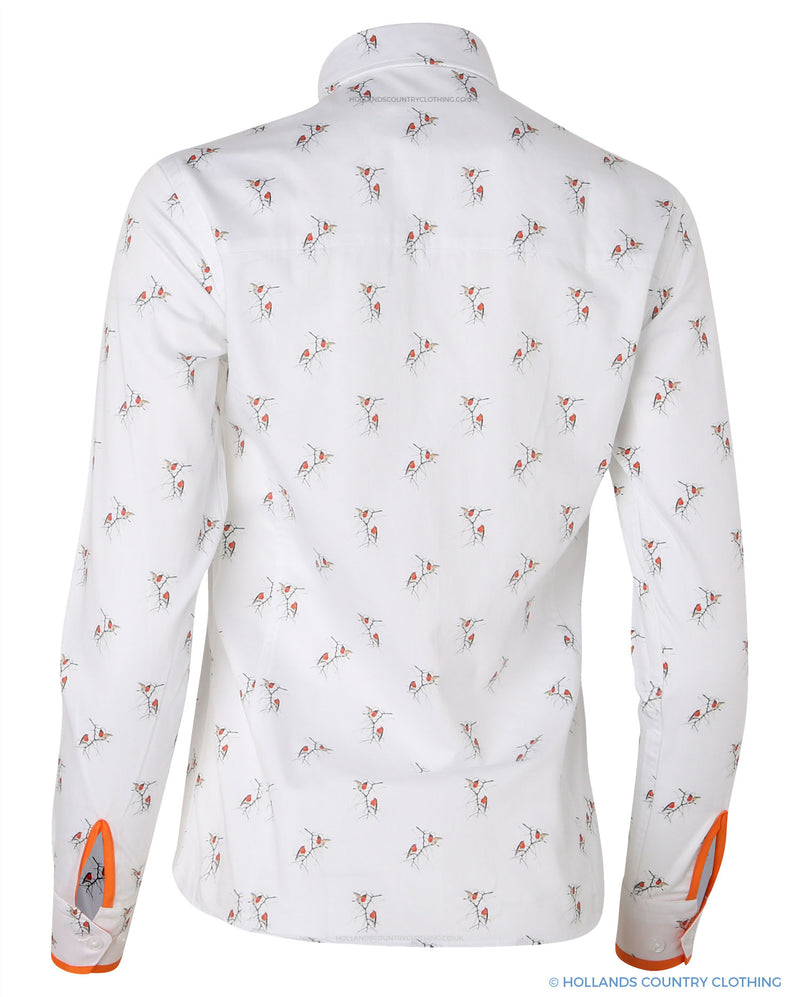 Layla Ladies Christmas Robin Shirt by Hartwell
