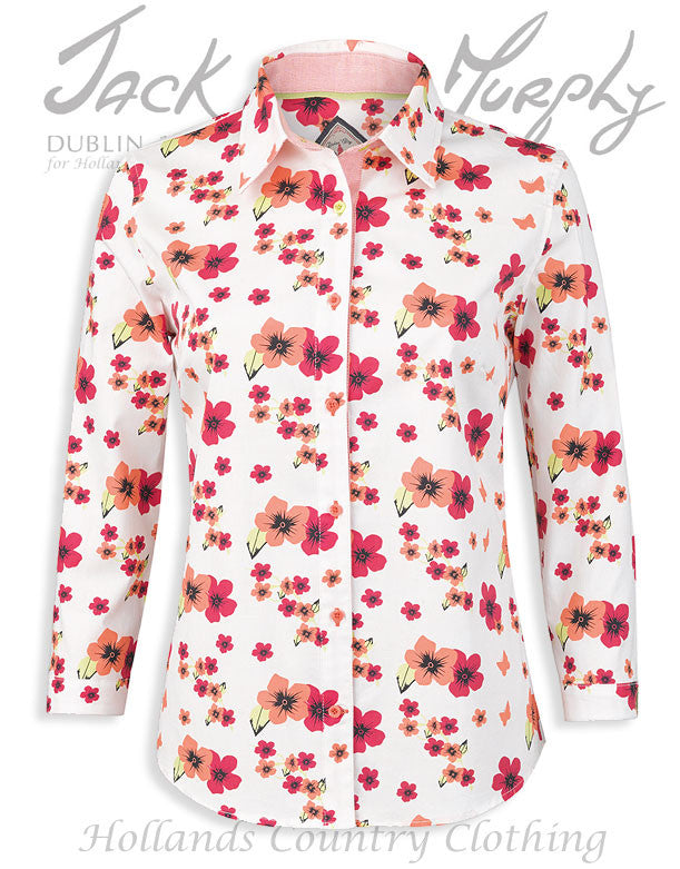 Jack Murphy Rosemary Ladies Shirt in blossom wonder bright pink and red flower pattern