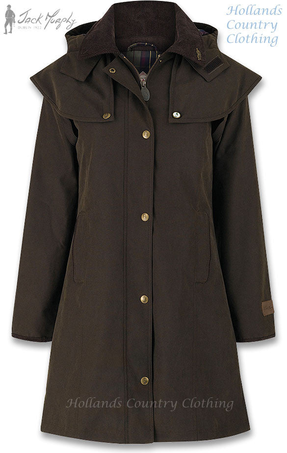 Ruth Three Quarter Length Waterproof Coat in woodland green with cape