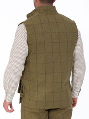 back view for Alan Paine Rutland Tweed Shooting Waistcoat | Lichen