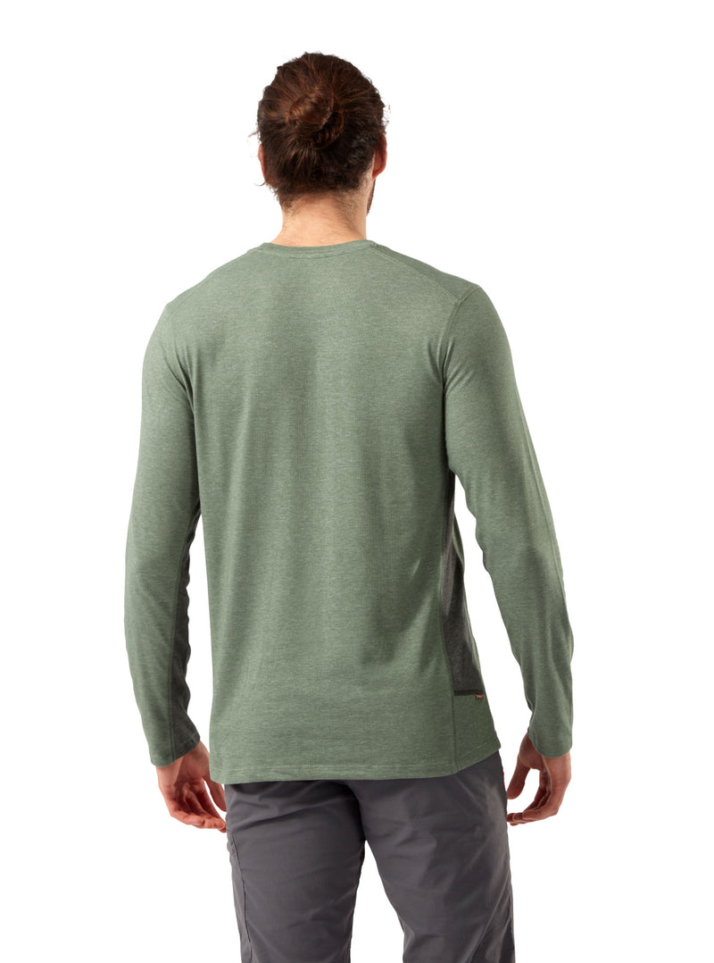 Back Sage Marl Craghoppers NosiLife Talen Long Sleeve T-Shirt
