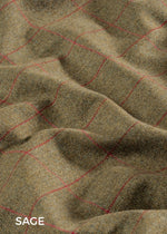 Sage; Reflecting the flowing green hues of the English countryside and with a cherry red over-check, sage is a popular traditional coloured tweed