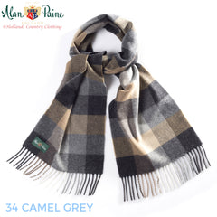 camel brown Alan Paine Multi-Colour Check Scarf