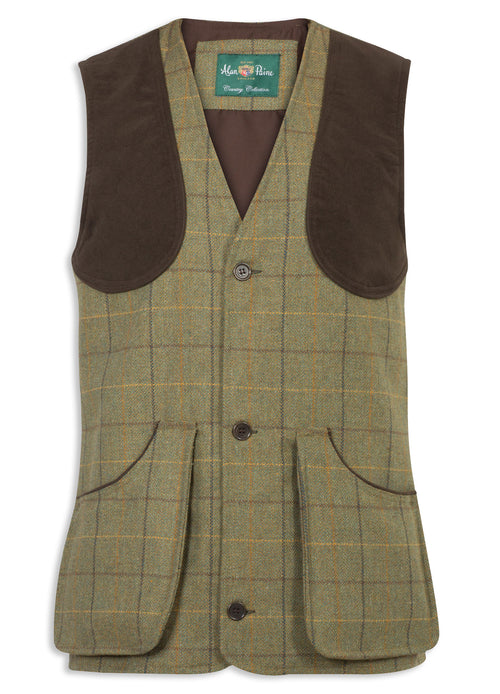 Alan Paine Rutland Tweed Shooting Waistcoat | Dark Moss
