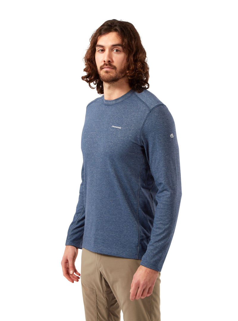 Man's Soft Blue Craghoppers NosiLife Talen Long Sleeve T-Shirt