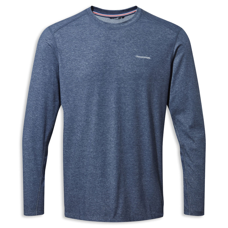 Soft Navy Marl Craghoppers NosiLife Talen Long Sleeve T-Shirt