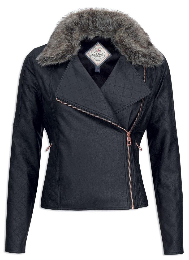 Jack Murphy Sam Faux Leather Biker Jacket with large fur collar